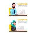 cartoon muslim call center customer service vector image