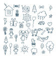 Children drawing Doodle set of objects vector image