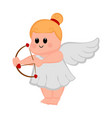 cute cupid girl icon with bow and arrows vector image