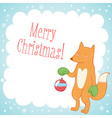 Cute fox Christmas greeting card vector image