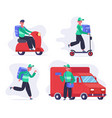 delivery service characters courier or postal vector image
