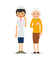 doctor and patient practitioner woman stands and vector image