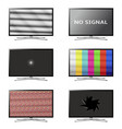 flat screen smart tv set no signal tv screens vector image