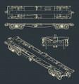 flat wagon drawings vector image vector image