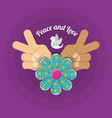 hand symbol peace and love symbol hippie concept vector image vector image