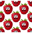 Happy ripe red raspberry seamless pattern vector image vector image