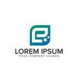 letter e minimalist technology logo design vector image vector image