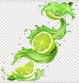 lime fruit in green juice splash for advertising vector image vector image