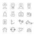 line funeral and burial icons vector image