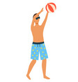 man in blue shorts playing inflatable ball vector image