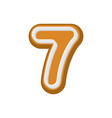 number 7 gingerbread font peppermint honey cake vector image vector image