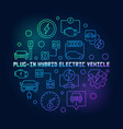 plug-in electric vehicle round colorful vector image vector image
