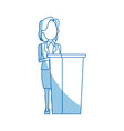 politician woman standing behind rostrum and vector image vector image