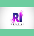 ri r i purple letter logo design with liquid vector image vector image