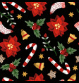 seamless pattern with christmas elements trendy vector image vector image
