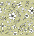 seamless pattern with flowers and branches vector image