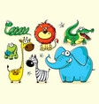 set isolated funny animals africa vector image