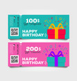 shopping gift tear-off certificate template set vector image vector image