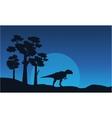 Silhouette of mapusaurus on blue sky landscape vector image vector image