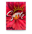 summer poster with handwritten text and symbol of vector image