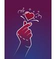 symbol korea finger heart vector image vector image