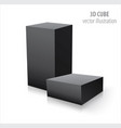 two 3d cubes black isolated on white background vector image vector image