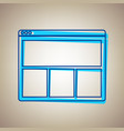 web window sign sky blue icon with vector image vector image