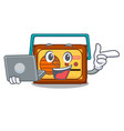 with laptop radio character cartoon style vector image