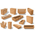 wooden boxes containers crates and packages vector image