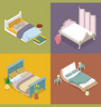 isometric double king size bed bedroom furniture vector image