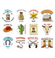 cowboy set badges wild west rodeo or indians vector image