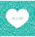 white on green alphabet letters heart silhouette vector image