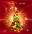 red merry christmas gift tree design vector image