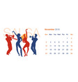 2019 dance calendar november silhouettes of two vector image
