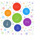 7 audio icons vector image vector image