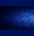 abstract blue hexagons with nodes digital vector image vector image