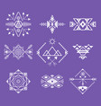 aztec style ornament white thin line icon set vector image vector image