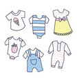 baby shower of girl and boy clothes vector image