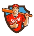 baseball player logo sport or mascot icon vector image