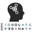 Brain Mechanics Flat Icon With Bonus vector image