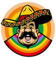 cartoon of smiling mexican man with sombrero vector image vector image