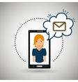 cartoon woman smartphone cloud email vector image