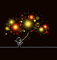 cartoonman with firework at night vector image