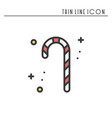 christmas candy cane thin line icon new year vector image vector image
