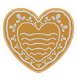 christmas heart shape gingerbread cookie vector image