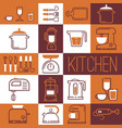 collage kitchen supplies icons and stickers vector image vector image