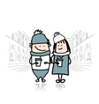 Couple walking in city with coffee cups vector image vector image