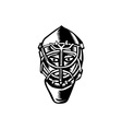 Ice Hockey Goalie Helmet Woodcut vector image vector image