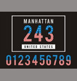 manhattan set number textured united states vector image vector image