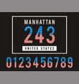 manhattan set number textured united states vector image